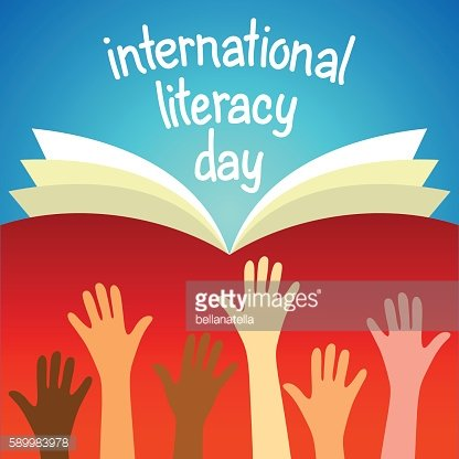 Colorful poster for International literacy day.