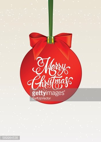 Merry Christmas Lettering on Hanging Ball