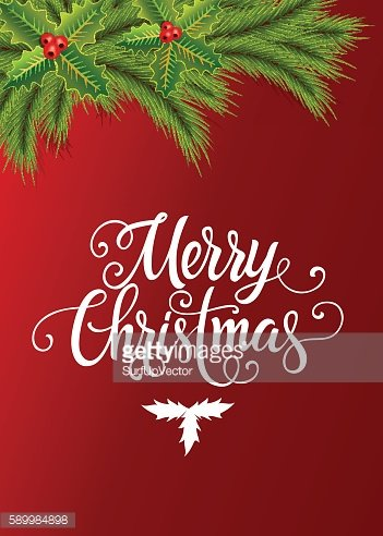 Merry Christmas Lettering with Fir Branch