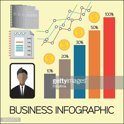 Business elements infographic with icons, charts and money