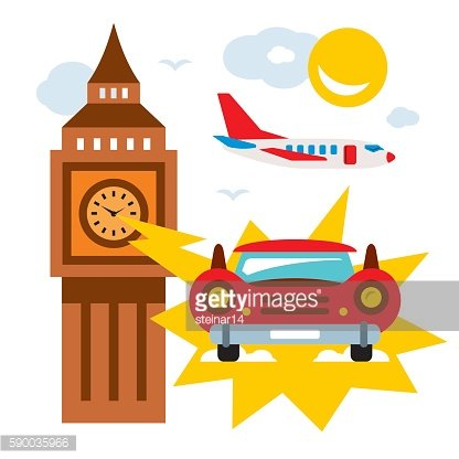 Vector time machine. Flat style colorful Cartoon illustration.