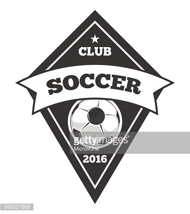 Vector soccer logo template, emblem in black isolated white