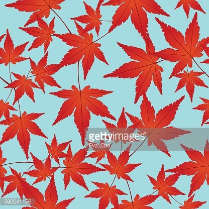 Red leaves seamless pattern, vector background