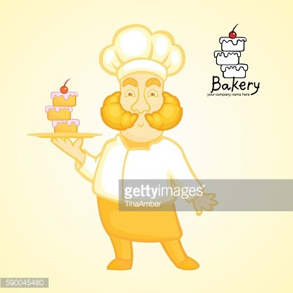 Cute cartoon chef holding the dish with cake.