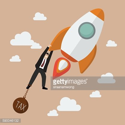 Businessman hold on a rocket with tax burden