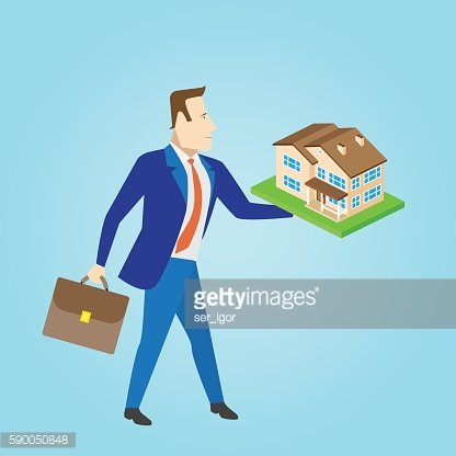 Real estate agent with a house model for sale.