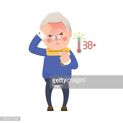 Senior Man with Fever Checking Thermometer
