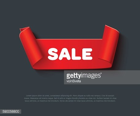 Red curved paper ribbon isolated on dark background. Realistic