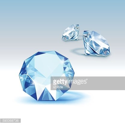 Vector Blue Shiny Clear Diamonds Close up Isolated