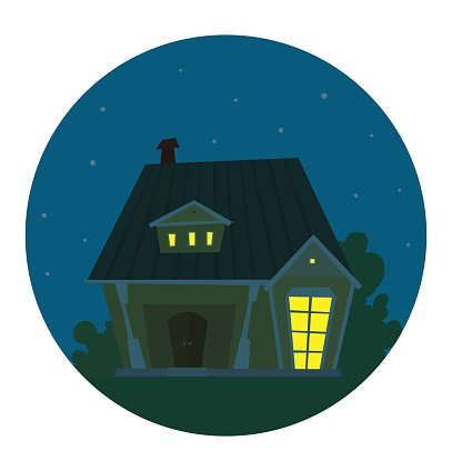 Round Night Frame Cute Yellow Brown House Clipart Image