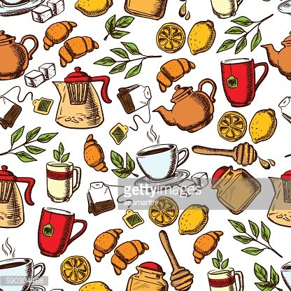 Tea time and desserts seamless background