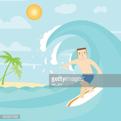 The man surfing on the ocean.
