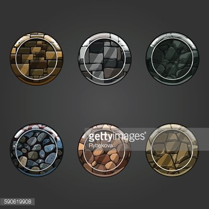 Set of round concave stone buttons