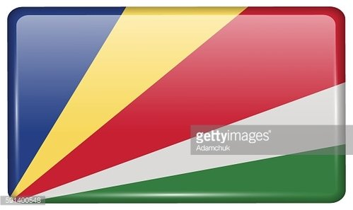 Flags SEYCHELLES in the form of a magnet on refrigerator