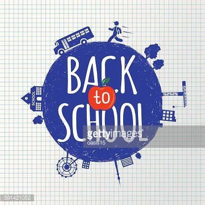 Back to school on the background of sheet and icons