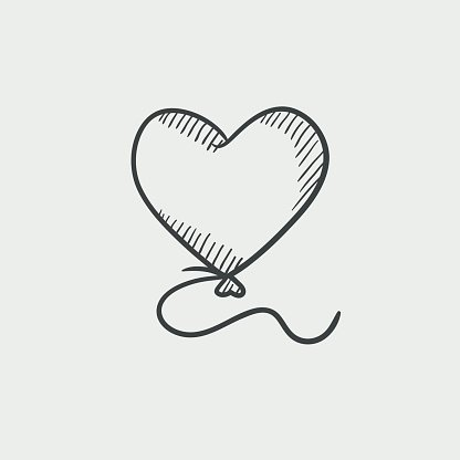 heart balloon sketch icon