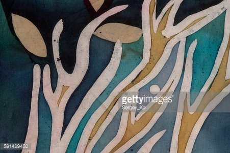 Golden tree branches with leaves, turquoise, hot batik