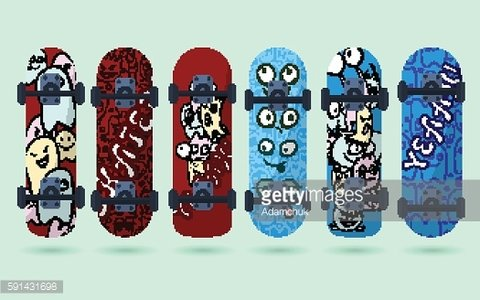 Collection of blue and red skateboard with monsters on a