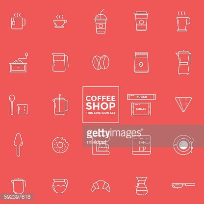 Set of coffee icons - vector illustration