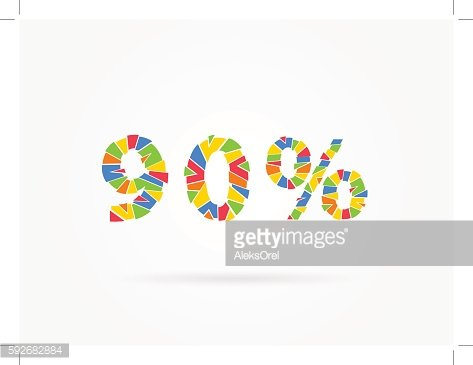 Discount 90 % colorful vector illustration