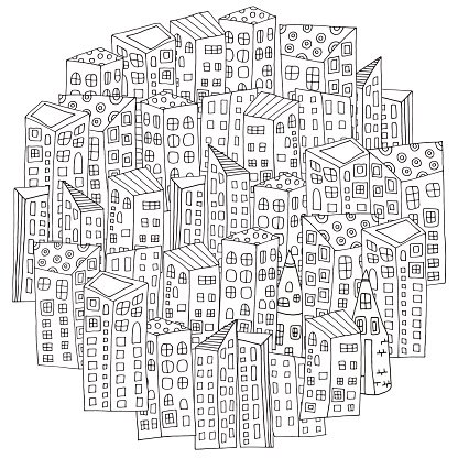 Pattern For Coloring Book With Artistically City Houses Magic