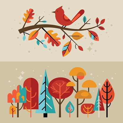 Fall leaves modern. Autumn banners with and
