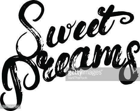Sweet dreams hand written calligraphy lettering poster or card.