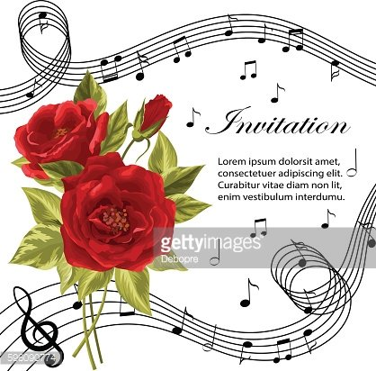 Red roses with music notes.