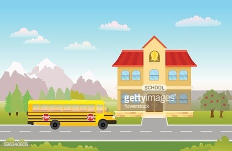 bus on road to school