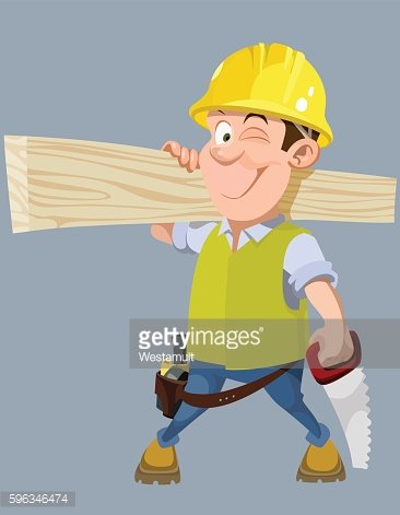 cartoon male worker in a helmet with a hacksaw and ...