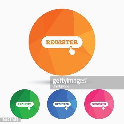 Register with hand pointer icon. Membership.