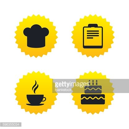 Coffee cup icon. Chef hat symbol. Birthday cake.