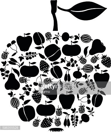 Apple of fruits and berries icon