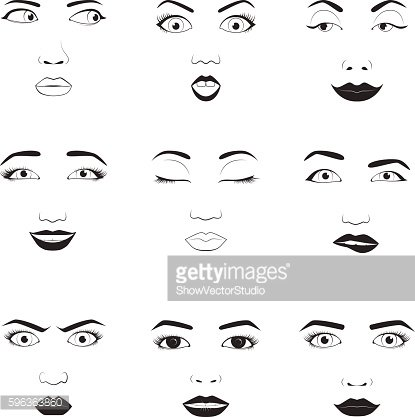 Woman emotions face vector icons.