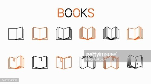 Line icons , books , big set of . Vector ...
