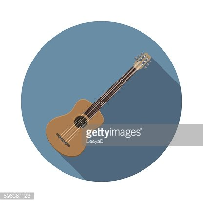Flat design acoustic guitar icon, music instrument vector illustration