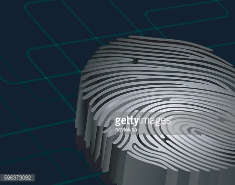 Dimensional fingerprint standing on dark blue background