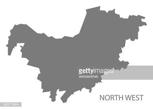 North West South Africa Map grey