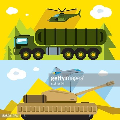 Vector Set of Russian Military Army. Flat style colorful Cartoon