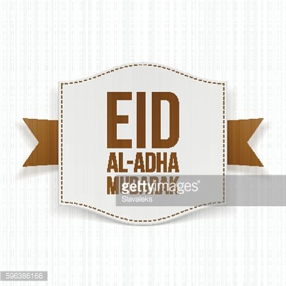 Paper Label with Eid al-Adha Text and Ribbon