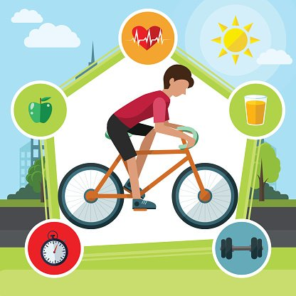 Healthy lifestyle creative flat style concept