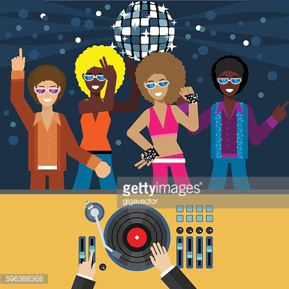 Disco flat style vector illustration