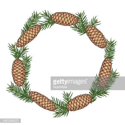 Wreath with fir branches and cones. Detailed vintage illustration