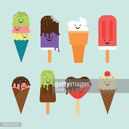 Ice cream flat cute icons