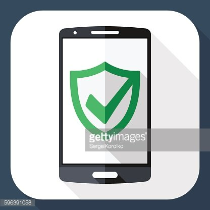 Smartphone and security shield icon on screen with long shadow