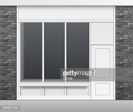 Shop Store Front with Windows Showcase and Door