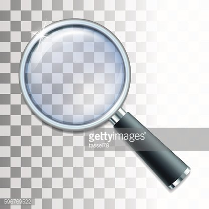 Magnifying glass on transparent background.