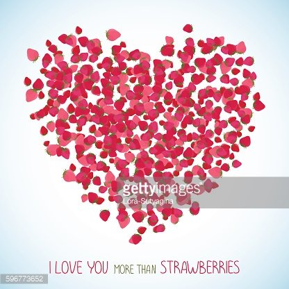 I love you more than strawberries. Copy space.