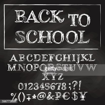 Back to school chalk roman alphabet