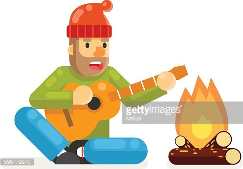 Traveler Sings Plays Guitar Campfire Flat Design isolated Template Vector